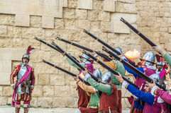 In Guardia Parade at St. Jonh's Cavalier in Birgu, Malta. Stock Photos