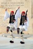 Guardia presidenziale Changing fuori della costruzione del Parlamento a Atene, Grecia Fotografia Stock Libera da Diritti