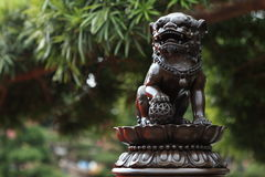 The guardian. Chinese guardian lions(this one is in front of an ancient Chinese palace), also called Fu (Foo) Lions, lions of Buddha, or sometimes stone lions in Royalty Free Stock Photos