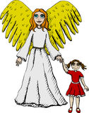 Guardian Angel. Vector illustration of guardian angel Stock Photography