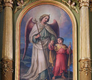 Guardian angel. Altarpiece in the Basilica of the Sacred Heart of Jesus in Zagreb, Croatia Stock Image