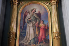 Guardian angel. Altarpiece in the Basilica of the Sacred Heart of Jesus in Zagreb, Croatia Royalty Free Stock Photos