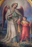 Guardian angel. Altarpiece in the Basilica of the Sacred Heart of Jesus in Zagreb, Croatia Stock Photo