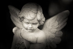 Guardian angel. Black and white photo Royalty Free Stock Images