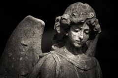 Guardian angel. Black and white photo Royalty Free Stock Photography