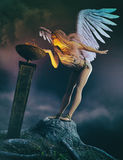 Guardian Angel. 3D render of a guardian angel standing in front of torch with flame royalty free illustration