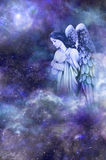 Guardian Angel. Deep space blue background with Guardian Angel amongst clouds looking down with thoughtful expression