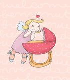 Guardian angel female. A loving guardian angel of a  female newborn. Digital colors Royalty Free Stock Images
