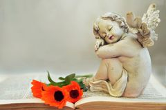 Guardian angel and flowers on the book. Guardian angel and flowers on the old book Stock Photography