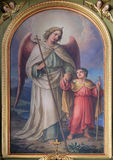Guardian angel. Altarpiece in the Basilica of the Sacred Heart of Jesus in Zagreb, Croatia Stock Photos