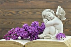 Guardian angel and lilac flower. On the book Stock Photography