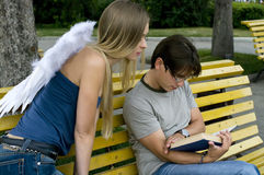 Guardian angel and men Royalty Free Stock Images
