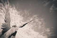 Guardian angel. Over sky  - black and white photo Stock Photo