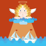 Guardian angel protects sailboats. Guardian angel girl protects yachts in sea stock illustration