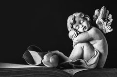 Guardian angel sleeping. On the book Stock Images