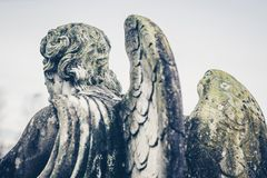 Guardian angel statue rear view vintage style. Guardian angel statue rear view - vintage style photo Stock Image
