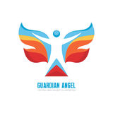 Guardian angel - vector logo template concept illustration. Human character with colored wings. Butterfly sign. Christmas symbol Stock Image