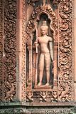 Guardian carved stone relief Angkor temple Stock Photography