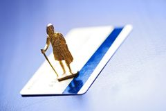 Guardian on credit card Royalty Free Stock Photography