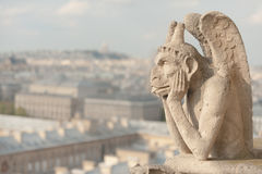 Guardian demon. The best known chimera of Notre Dame de Paris Stock Images