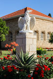 Guardian Eagle. Eagle statue just outside the Shrine of Baha'u'llah in Bahji; Akko, Israel. The most Holy Place for Baha'is Stock Photos