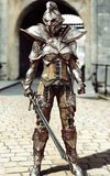 Guardian of the gate. Female fully armored knight standing guard. 3d rendering Royalty Free Stock Images