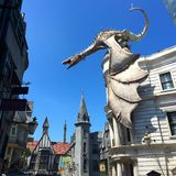 Guardian of the Kingdom. A giant dragon stands guard over a recreated Harry Potter village in Universal Studios Florida Royalty Free Stock Images