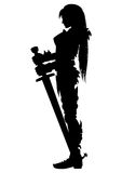 Guardian knight woman silhouette. Illustration girl warrior silhouette in knight armor with two-handed sword Stock Photo