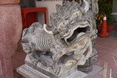 Guardian lion. A Guardian lion in front the the Emperor`s Palace in Beijing stock images