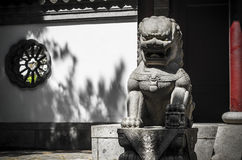 Guardian Lion. An Imperial guardian lion in the Chinese garden of the Montreal Botanical Garden Royalty Free Stock Photos