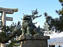 Guardian Lion Statue on Miyajima Island, Hiroshima, Japan Royalty Free Stock Photography