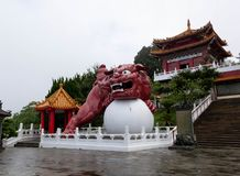 The guardian lion at Wenwu temple. Sculpture of the guardian lion in front of Wenwu temple at Sun Moon Lake, Taiwan royalty free stock images