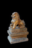 Guardian lions or Fo-dogs flank the entrance gates Buddhist temple. The guard lion or stone lion chin çY stock photos