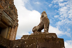 Guardian Lions At Pre Rup, Cambodia. The statue of guardian lion at Pre Rup. Angkor. Cambodia Royalty Free Stock Images