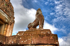 Guardian Lions At Pre Rup, Cambodia Stock Photo