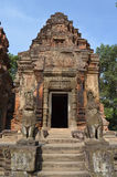 Guardian lions in the temple of Preah Ko Stock Photography