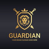 Guardian logo. Lion logotype. Logo suitable for businesses and product names. Easy to edit, change size, color and text Royalty Free Stock Photography
