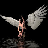 Guardian. A male angel in a pose stock illustration
