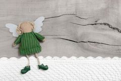 Guardian Or Christmas Angel For A Greeting Card For Birthday On A Old Wooden Background Royalty Free Stock Photography