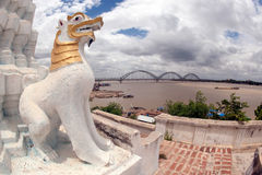 Guardian at Shwe Kyat Yat Pagoda near Inwa bridge,Myanmar. Royalty Free Stock Photography