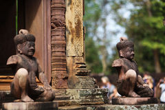 Guardian spirits protecting temple in Angkor Wat, Royalty Free Stock Image
