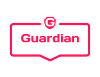 Guardian template dialog bubble, flat style on white background. Basis with shield icon for various word of plot. Vector. Guardian template dialog bubble in flat Royalty Free Stock Photos
