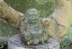 Guardian of the Tree. Guardian Buddha Tree faded rust light hope force contemplate contemplation Stock Photography