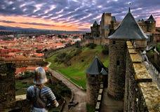 Guardiani di Carcassonne Fotografie Stock Libere da Diritti
