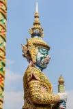 Guardiano bianco del demone a Wat Phra Kaew Fotografia Stock