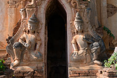 Guardians in ancient Burmese Buddhist pagodas Royalty Free Stock Photo
