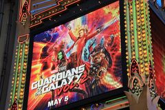 Guardians of the Galaxy sign. On the marquee of the El Capitan Theatre Stock Image