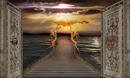 Guardians of the light. Gaze toward heavens - surreal picture Stock Image