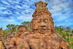 Guardians at the South Gate of Angkor Thom - Siem Reap, Cambodia Stock Images