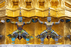 Guardians Surrounding Temple, Golden Pagoda Stock Photo